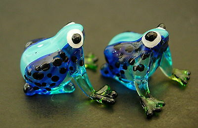 2 Tiny Glass FROGS Toad Blue Black Spotted Glass Ornaments Glass Animal Figures