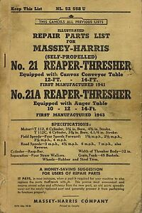 Details about MASSEY-HARRIS VINTAGE 21-A REAPER-THRESHER PARTS MANUAL 1951