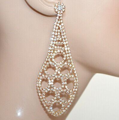 ORECCHINI STRASS donna ROSE argento cristalli cerimonia eleganti matrimonio 135X