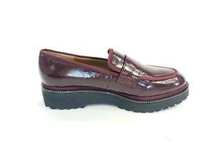Franco-Sarto-Shelton-Platform-Loafers-On-Purple-Patent-Leather-Womens-US-9M