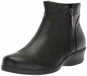 Propet-Womens-Waverly-Leather-Cap-Toe-Ankle-Fashion-Boots-Black-Size-8-5-I6Zy