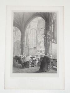 Armstrong-Iglesia-Saint-Piedra-POSTAL-CAEN-LITOGRAF-A-Normandia-GRABADO-Infolio