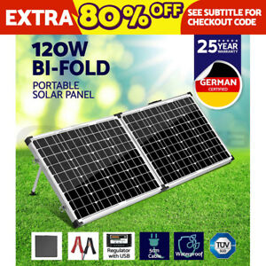 SOLRAISER 120W Mono Folding Solar Panel Camping Power Kit 12V