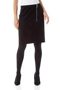Roman-Originals-Women-Ponte-Zip-Skirt-in-Black-sizes-10-20