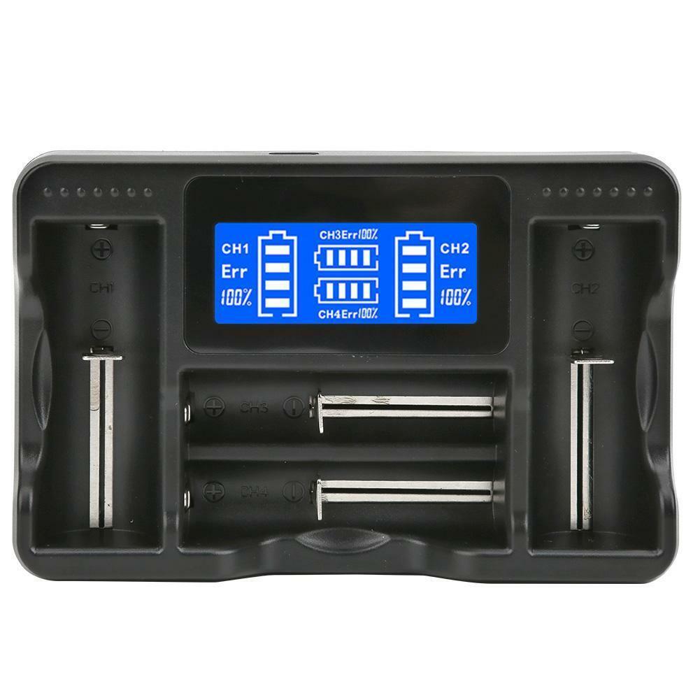 SEIVI L Display USB 4 Slot Battery Charger Set for Ni-MH Ni- AA AAA Li-ion