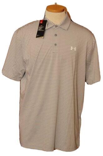 Men/'s Under Armour Playoff Polo  Gray White Striped  #1253479  size 3XL