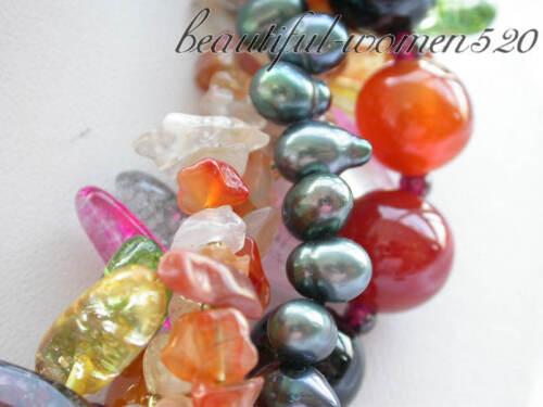 "X0314 5row 18/"" round jade strip crystal black pearl agate NECKLACE"