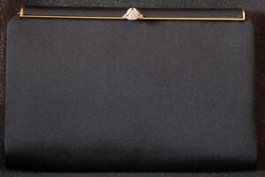 Catch Walborg Hecho de Italia negro en Clutch elegante Purse Rhinestone 1960 década prqfFtqC