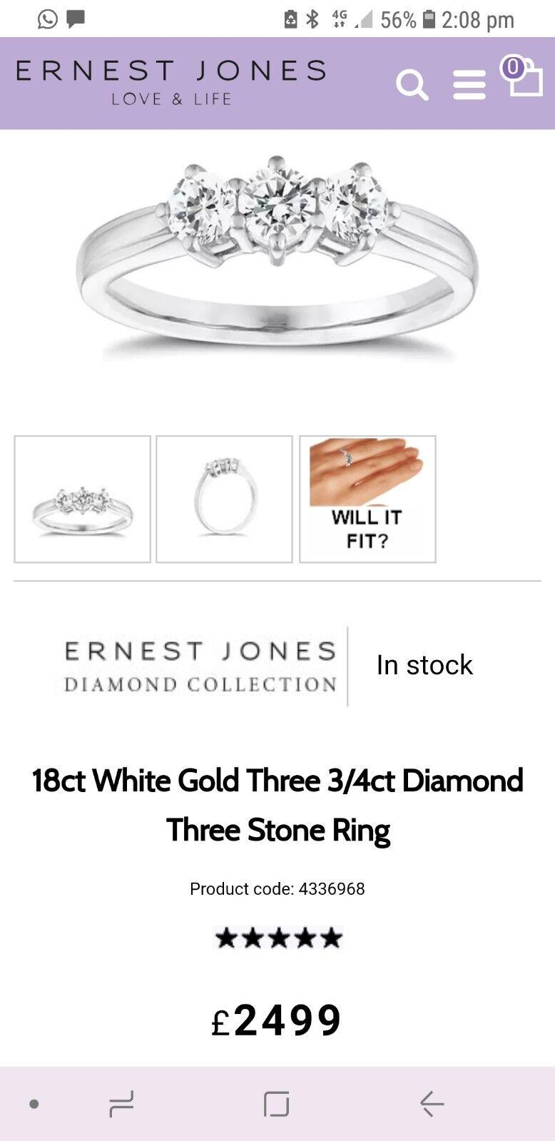 d5074f0f2 Jones White 3 Stone Diamond Engagement Ring gold Ernest nsneiy2723-Diamond