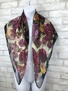 Vintage-Liz-Claiborne-Black-and-Purple-Floral-Square-Scarf-Jacquard-Print-34X35-034