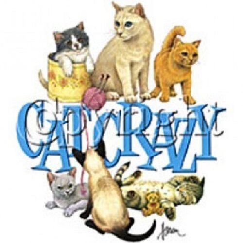 Cat Crazy HEAT PRESS TRANSFER for T Shirt Sweatshirt Tote Bag Quilt Fabric  #272