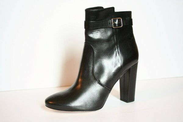 J Crew Collection High-Heel Buckle Boots 6.5 Black Leather Booties 348
