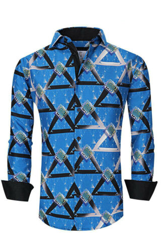 Suslo Couture Men/'s Slim-Fit Pyramid Blue Designer Long Sleeve Button Down Shirt