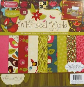 Whimsical World Limited Edition 12x12 Cardstock Stack Half w/Glitter/Foil DCWV