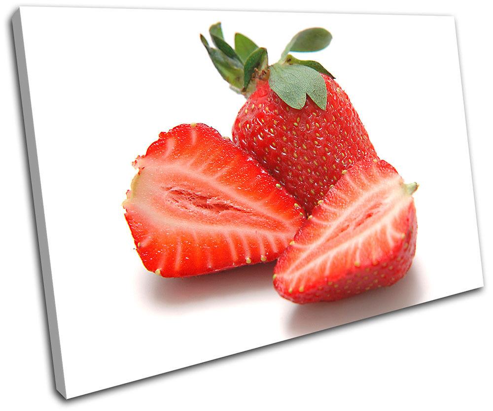 Strawberries Food Kitchen SINGLE TOILE murale ART Photo Print