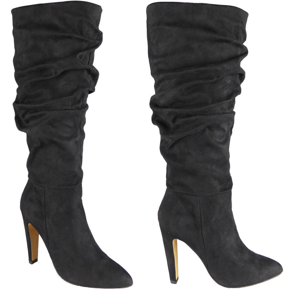 Ladies Toe Rouched Mid Calf Boots Zip High Heel Pointed Toe Ladies Party Suede Shoes Size 3ad0d6