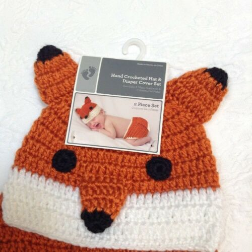 Infant Baby Costume Photo Prop Dress Up Hand Crocheted Hat Diaper Cover Set
