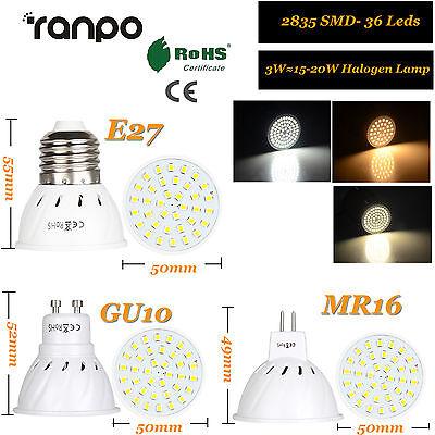 BOMBILLAS LED FOCO 3w 5w 7w MR16 GU10 E27 2835SMD Lámpara 220v 12v 24v