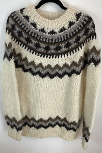 Hand knit sweater Iceland style by Viking Ladies Size Large Pure New Wool