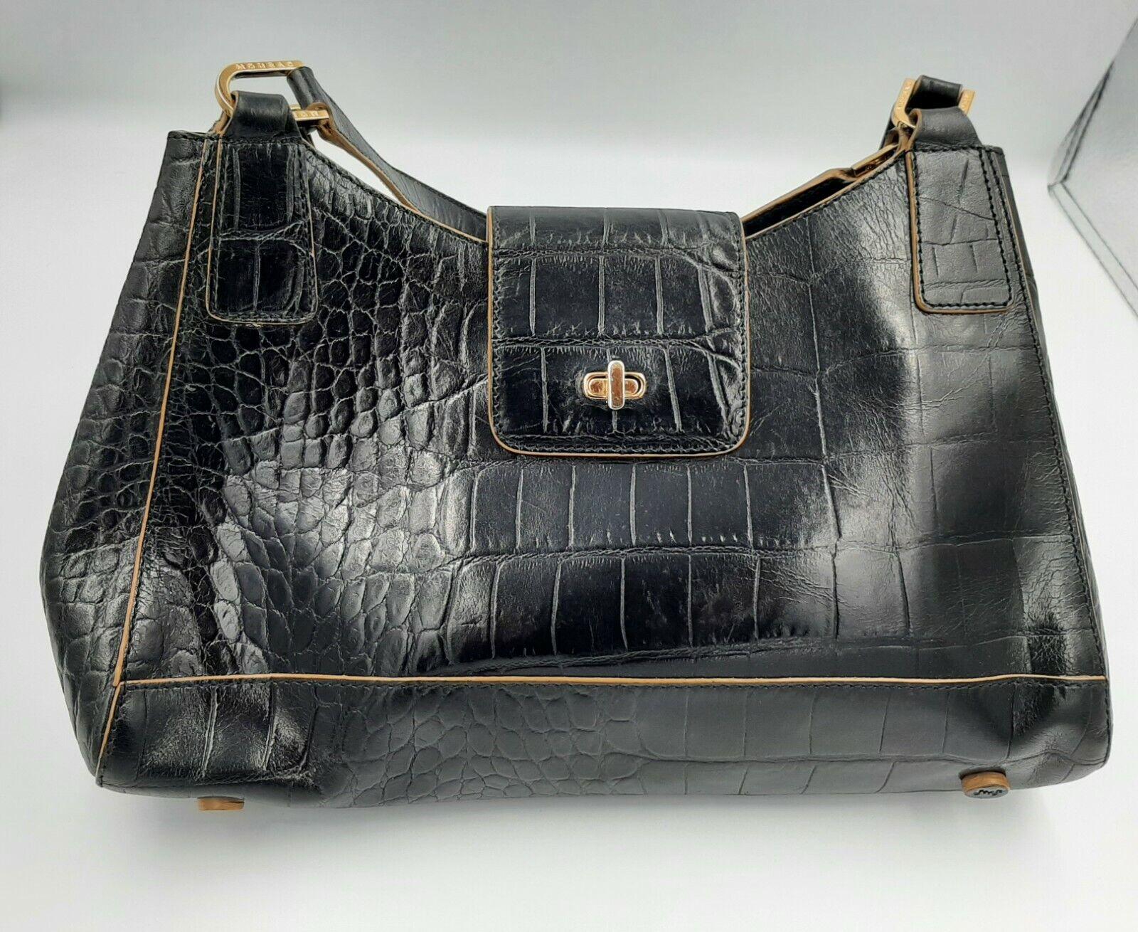 Monsac Original Black Leather Shoulder Bag