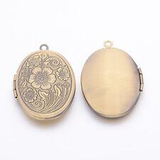 2 Stk Oval Messing-Medaillon-Anhänger Bilderrahmen Halskette Antik Bronze