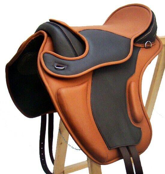Treeless Dressage Saddle LEEDS vacchetta velcro pad nuovo Marronee  Tan