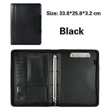 Black Business A5 Folder Portfolio Clipboard PU Faux Leather Document #3