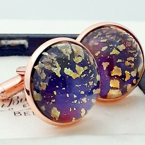 Vintage-Red-Blue-Gold-Glass-Fire-Opal-Large-Round-Rose-Goldtone-Cufflinks