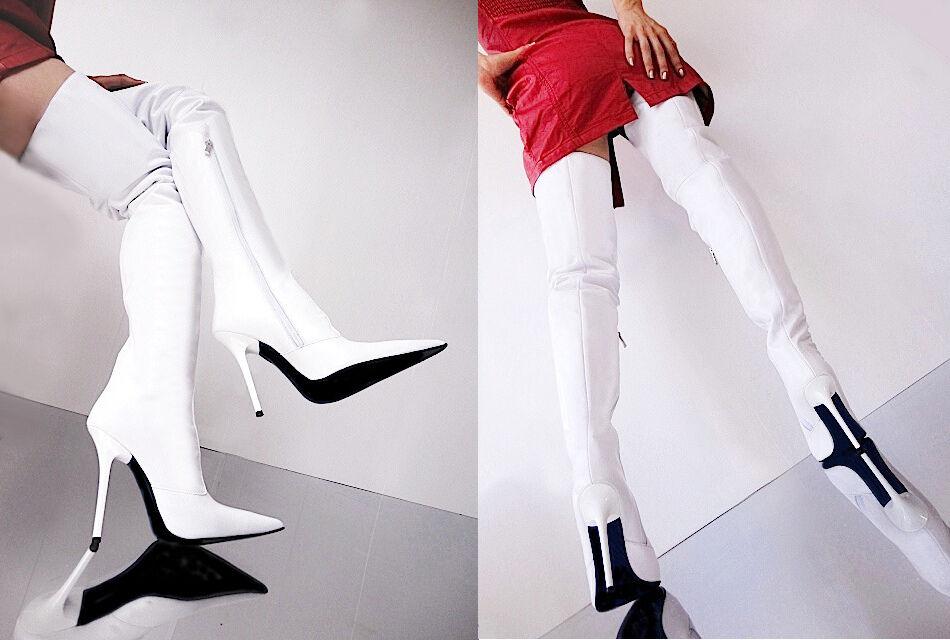 Zapatos de mujer baratos zapatos de mujer Grandes zapatos con descuento CQ COUTURE CUSTOM OVERKNEE BOOTS STIEFEL BOTAS ZAPATOS LEATHER BLANCO BLANCO 38