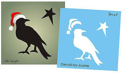 "STENCIL Primitive 3"" Crow Star Santa Claus Hat Country Christmas Home decor sign"