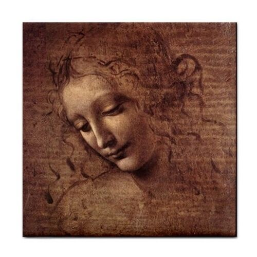 Female Head Da Vinci Art Decorative Coaster Ceramic Tile