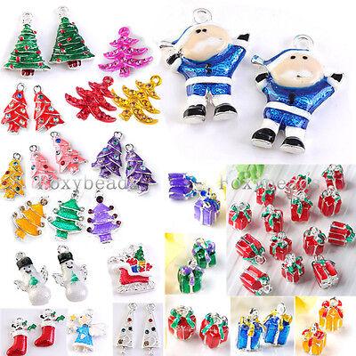 5pcs Crystal Enamel Christmas Tree Xmas Gifts Charm Pendants Jewelry Findings
