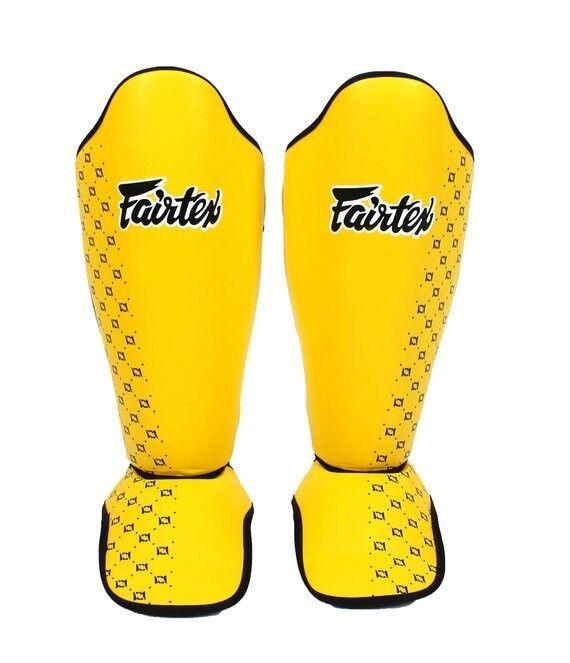 FAIRTEX SP5 YELLOW COMPETITION MUAY THAI BOXING K1 DETACHABLE SHIN PAD GUARDS