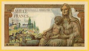 FRANCE 1000  FRANCS DEESSE DEMETER 1943 P#102 UNC NO PIN HOLES LARGE SIZE NOTE