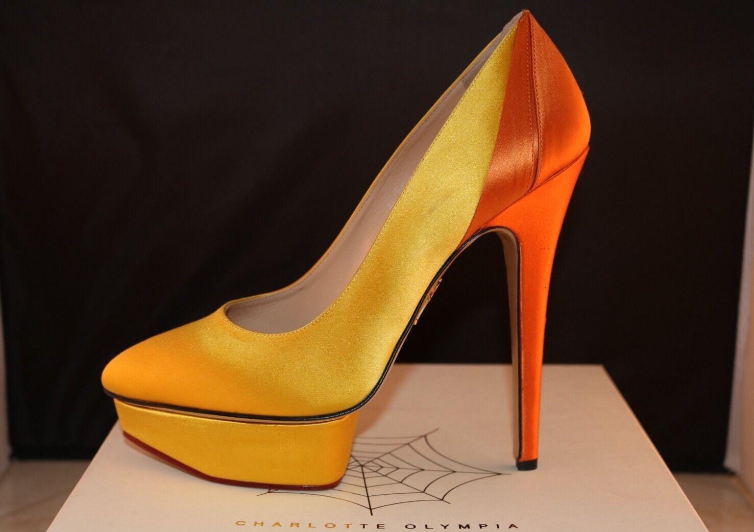 vendita con alto sconto CHARLOTTE OLYMPIA MASAKO coloreBLOCK giallo giallo giallo arancia SATIN PLATFORM PUMPS scarpe 39  all'ingrosso economico e di alta qualità