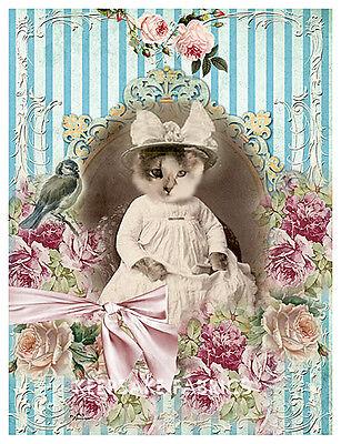 Whimsy Dust Kitten Roses Bluebird Quilt Block Multi Sizes FrEE ShiP WoRld WiDE