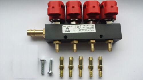2x VALTEK TYPE 30 AUTOGAS LPG 4 CYLINDER INJECTORS RAIL OMVL ROMANO BI-GAS STAG