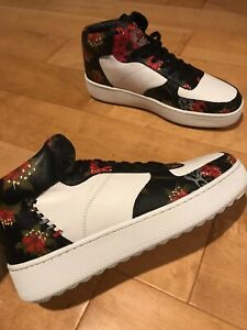 COACH-Mens-Size-11-5-Wild-Lily-Floral-Sneakers-Leather-C210-High-Top-Shoes-New