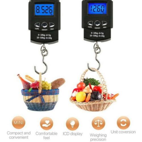 KE/_ 50kg Digital Travel Fish Luggage Hanging Hook Electronic Weighing Scale Ey