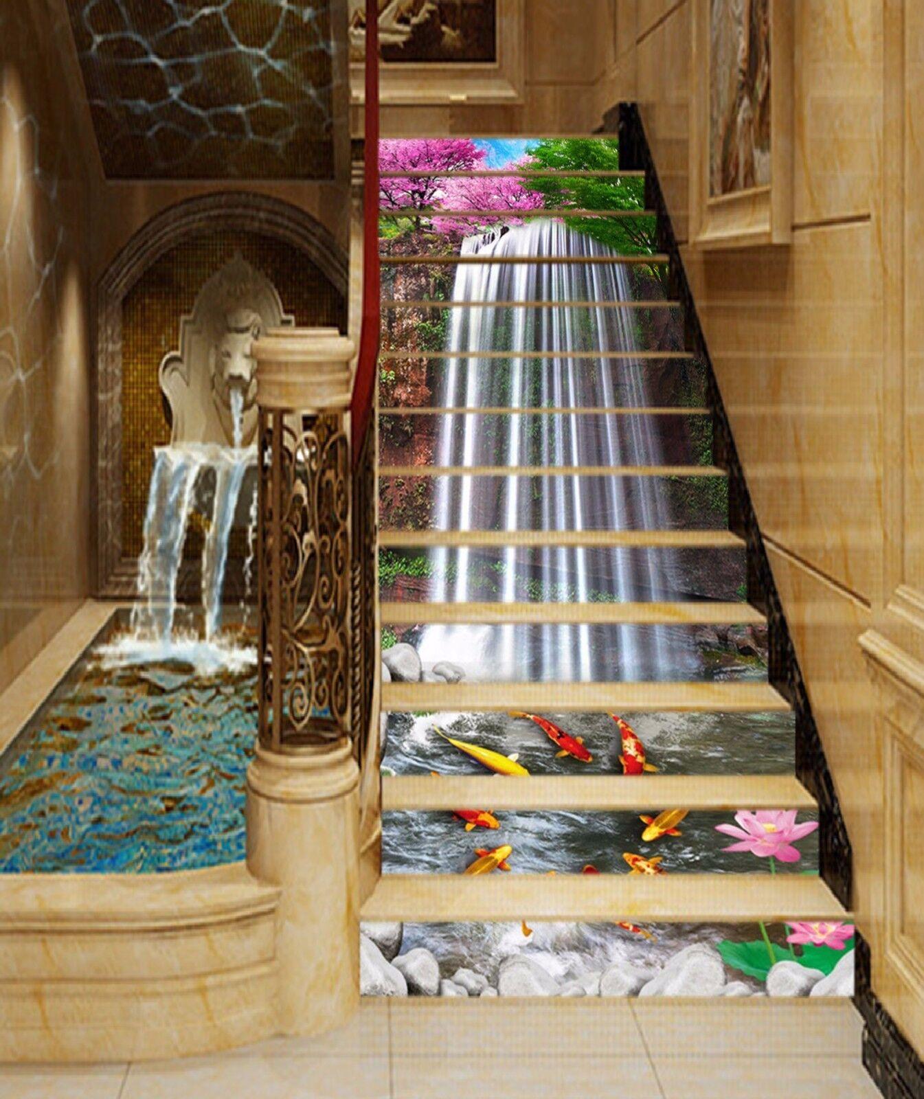 3D Carp Waterfall 77Stair Risers Decoration Photo Mural Vinyl Decal WandPapier AU
