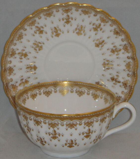 s Spode Fleur de Lis Lys Gray Bone China Cup and Saucer Set