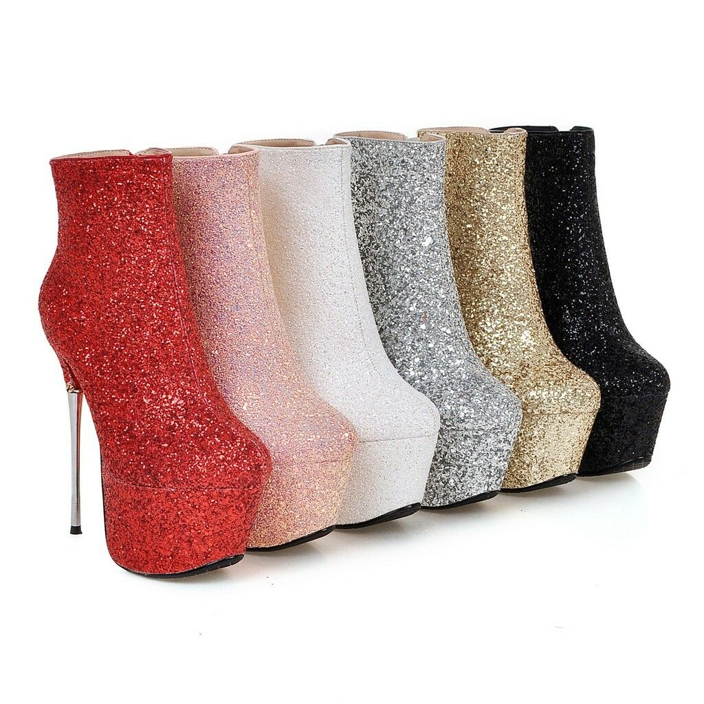 Women Glitter Zip High Heel Platform Stiletto Party Ankle Boots shoes Size 33-43