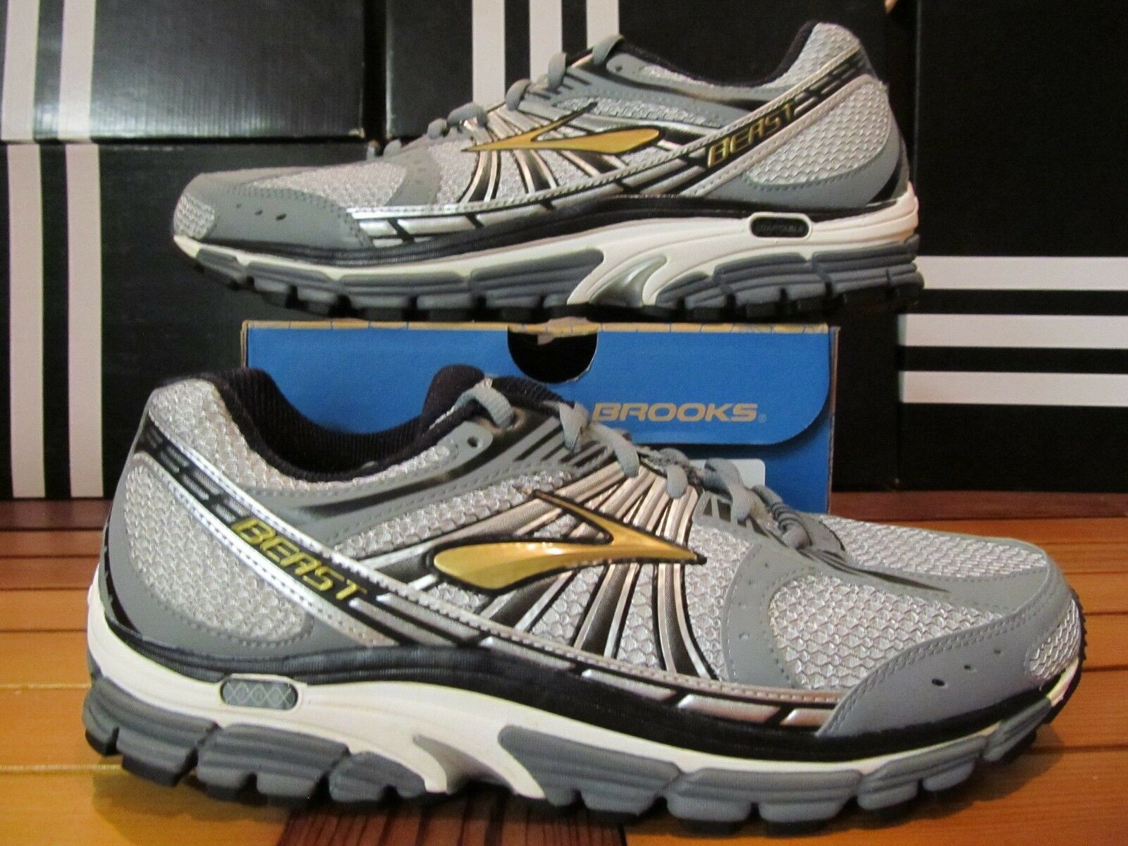 NEW Brooks Beast 12 Gold Silver Grey Blk 110122 1D 841 Running Shoes 15 16 17 18