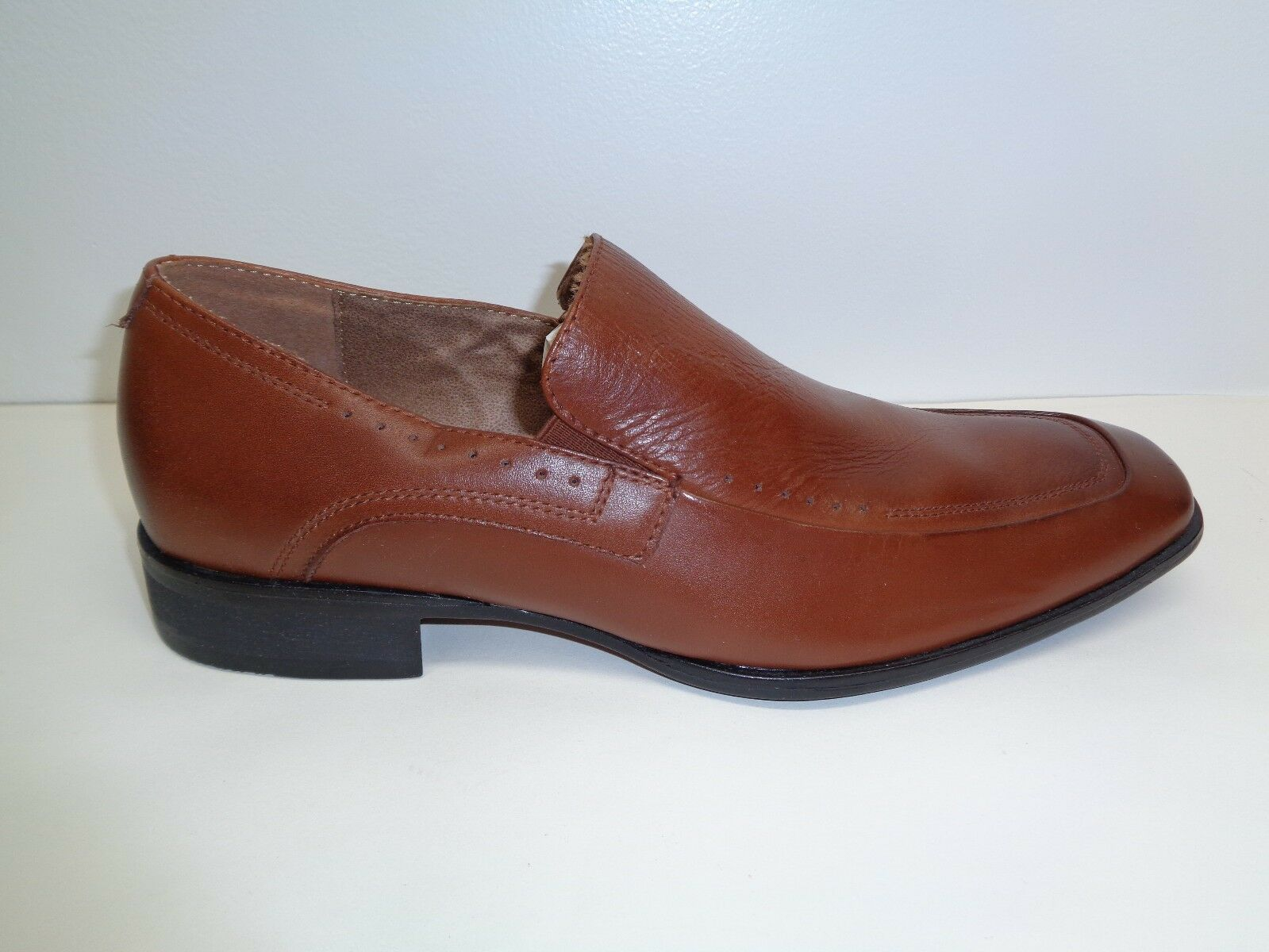 Steve Madden Size 8 M SUTTERR Tan Leather Slip On Loafers Oxfords New Mens Shoes