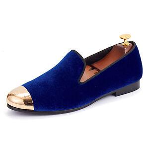 Harpelunde-Men-Blue-Velvet-Loafer-Shoes-With-Copper-Cap-Toe-Size-6-14