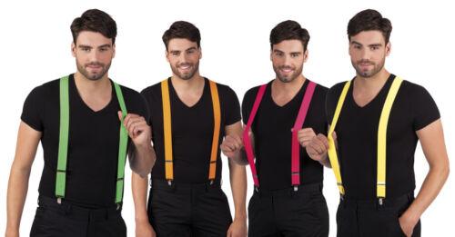 neonfarbene Hosenträger Damen Herren Karneval Fasching untersch Farben