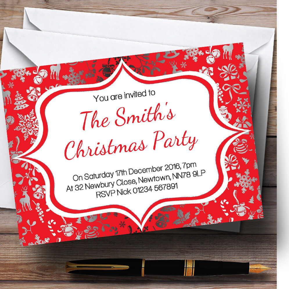 rot & Silber Classique Personalised Christmas Party Invitations