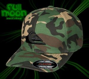 New Quiksilver Men s Mountain And Wave Camo Flexfit Cap Hat  4d72bf268b72