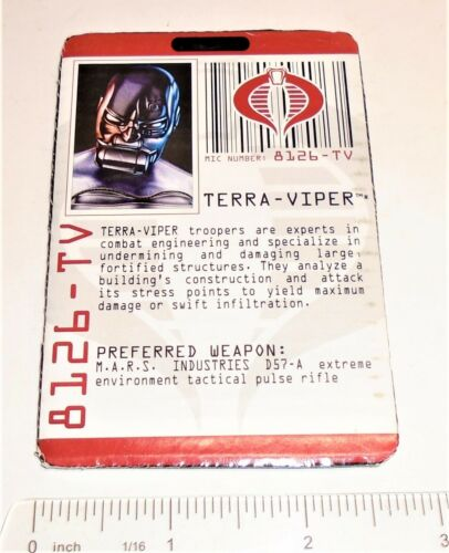 G I JOE File Card Filecard      Rise of Cobra    2009 Terra-Viper