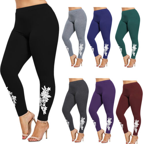 Women/'s Plus Size Appliqued Heather Leggings Tight Two Tone Leggings XL-5XL
